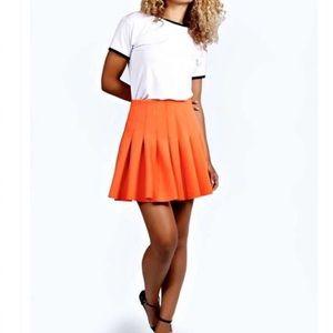 Robert Rodriquez | Orange Pleated Mini Skirt Sz 4
